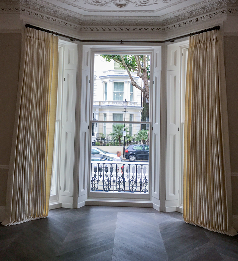 Made-to-measure curtains fitted for a client in London